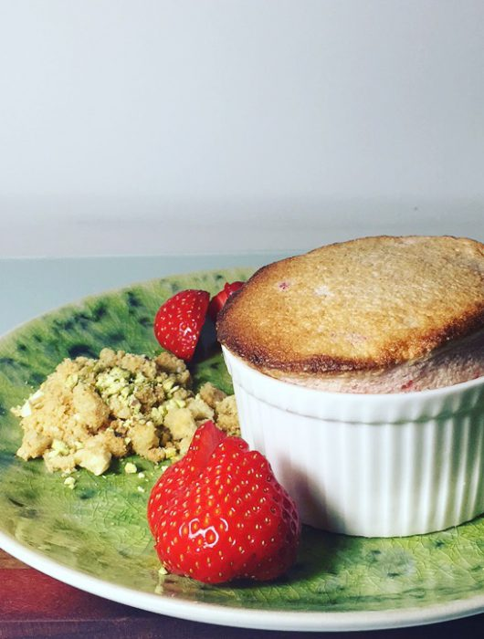 Strawberry Soufflé with Pistachio