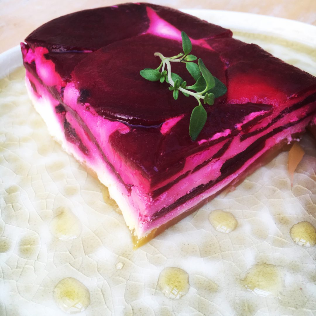Goats cheese and roasted beetroot terrine